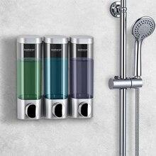Parete Dispenser di sapone Montato Detersivo Gel Doccia Dispenser 300ml di Plastica Bottiglie di Shampoo Triple Home Hotel Accessori Per il Bagno