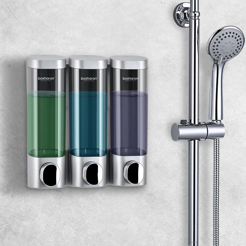 Soap Dispenser Wall Mounted Shampoo Bottles Triple Detergent Shower Gel Dispensers 300ml Plastic Home Hotel Bathroom Accessories