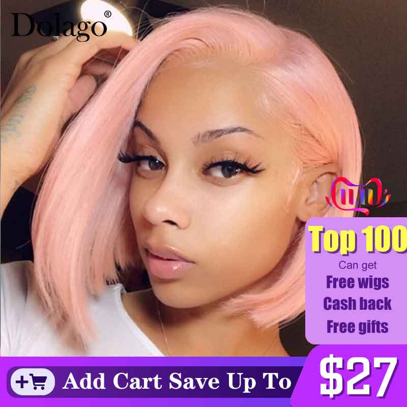 Light Pink Short Bob Wig Colorful Lace Front Human Hair Wig Transparent Lace Honey Blonde Brazilian Lace Frontal Wig Dolago
