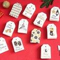 100 шт./лот, белые рождественские бумажные бирки для багажа, свадебные бумажные этикетки для упаковки, Подарочная цена, подвесная бирка, верев...
