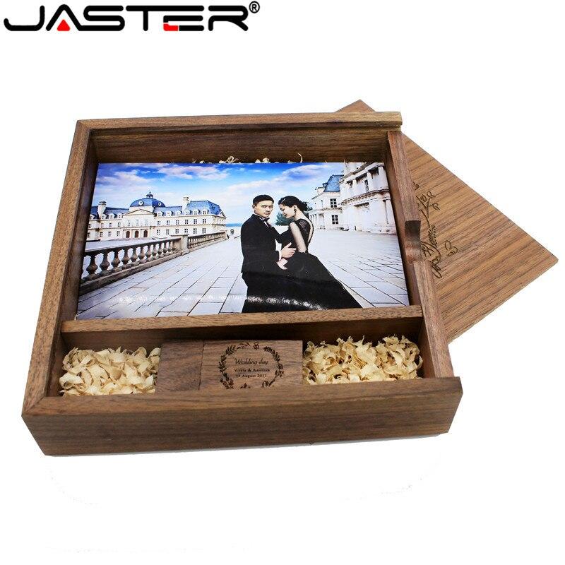 JASTER Free Custom Logo Photography Walnut Photo Album Usb + Box Usb Flash Drive U Disk Pendrive 8GB 16GB 32GB 64GB Wedding GIFT