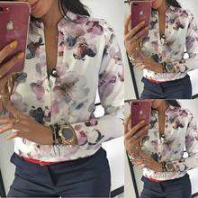 Blusas femininas moda escritório camisa floral impresso camisa casual manga longa gola redonda topos plus size xl senhoras