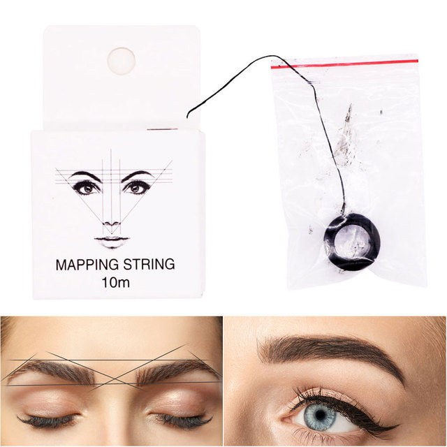 10m 2pcs Permanent Pre Inked Mapping String Microblading Measuring Portable Eyebrow Marker Thread Ultra Thin Brows Point 5