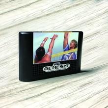 Super Volleybal Volley Bal Usa Label Flashkit Md Stroomloos Goud Pcb Kaart Voor Sega Genesis Megadrive Video Game Console