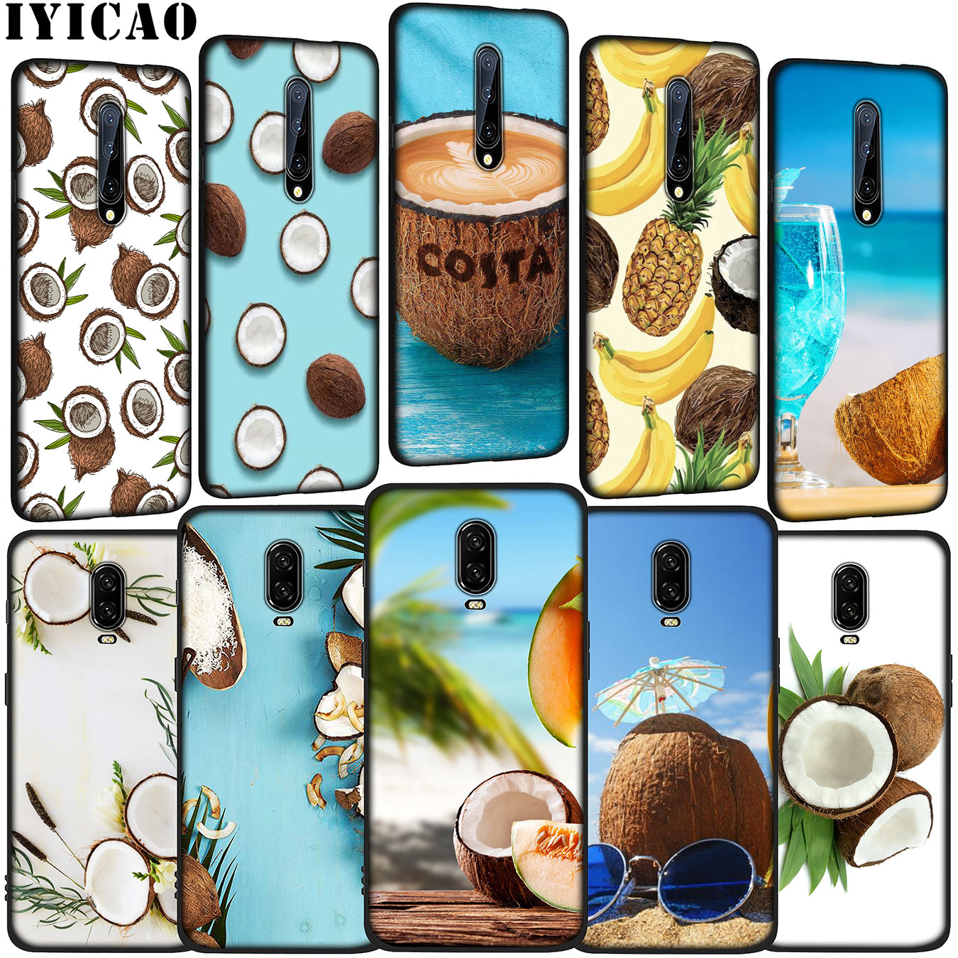 IYICAO Fruit Coconut In Blue Sky Beach Soft Silicone TPU Black <font><b>Phone</b></font> Case for OnePlus 7T 7 Pro 6T <font><b>6</b></font> 5T 5 <font><b>One</b></font> <font><b>Plus</b></font> 7Pro <font><b>Cover</b></font> image