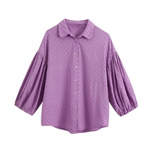 Blouse Casual Smock Peter Women Tops Lantern-Sleeve-Shirts Pan-Collar Flower Embroidery