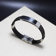 Sangsy New Arrival Punk Male Gifts  Double-layer Steel Wire Chain Black Silicone Rubber Stainless Steel Jewelry Bracelet Bangles new arrival spring wire line colorful titanium steel bracelet stretch stainless steel cable bangles for women