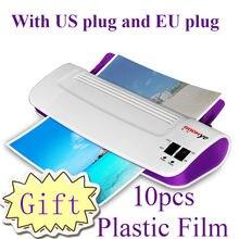 Máquina laminadora para documentos A4 e fotos, plastificador térmico frio e quente com rolo de filme plástico