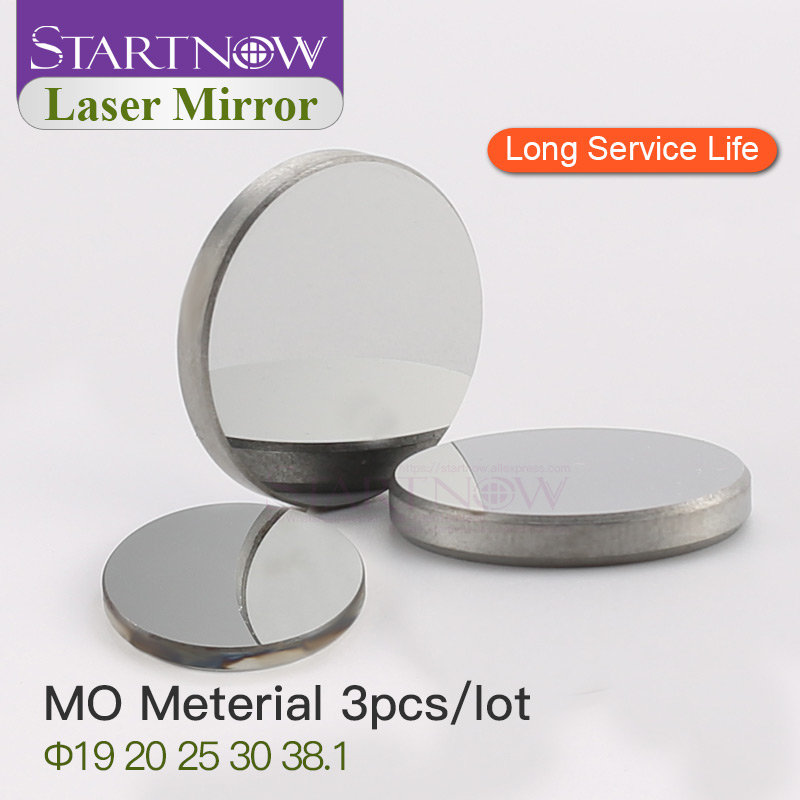 Startnow 3 pièces/lot Mo Laser lentille réfléchissante 19 20mm 25 30 38.1 THK 3mm optique Laser réflecteur miroirs pour 40W CO2 sculpture Machine