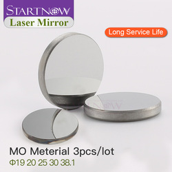 Startnow 3pcs/lot Mo Laser Reflective Lens 19 20mm 25 30 38.1 THK 3mm Optic Laser Reflector Mirrors For 40W CO2 Carving Machine