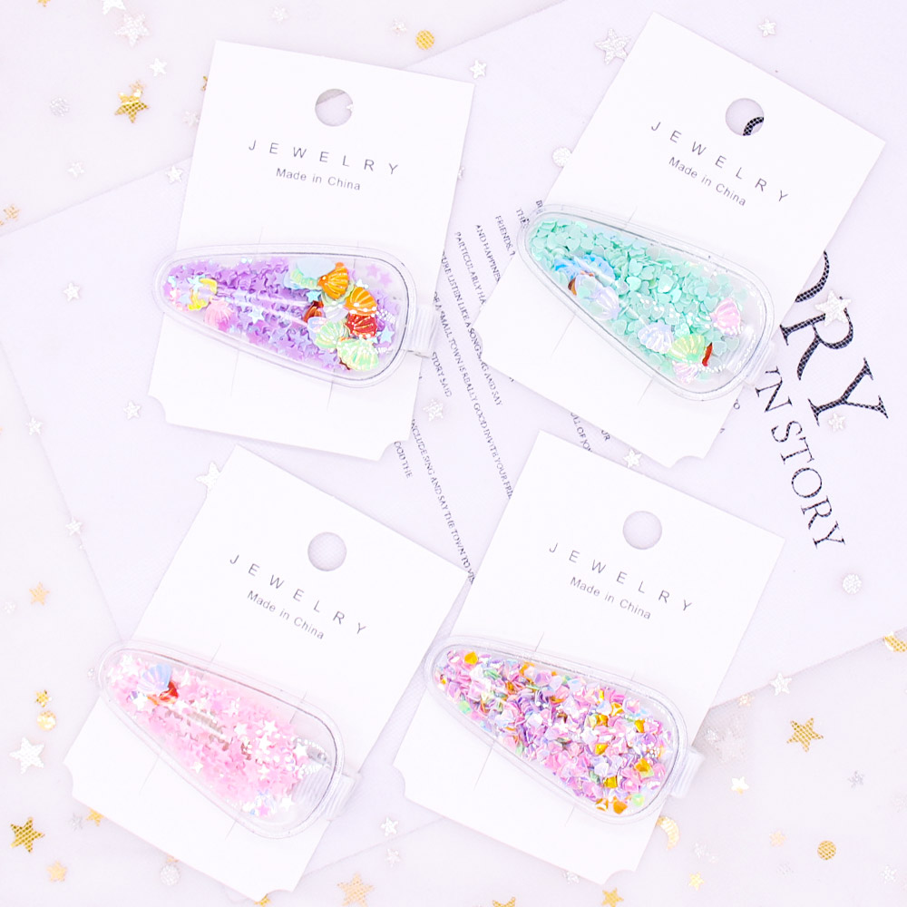 2Pcs Hair Accessories Jelly Bows Hairpins for Girls Cute Barrettes BB Hair Clips with Glitter Stars Handmade Boutique Headwear