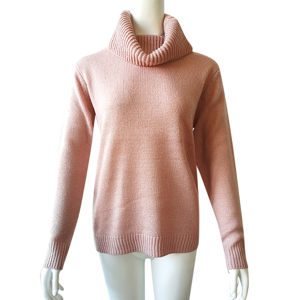Fashion solid color ladies high neck sweater sweater elegant autumn and winter sweater daily pullover comfortable warm bottoming