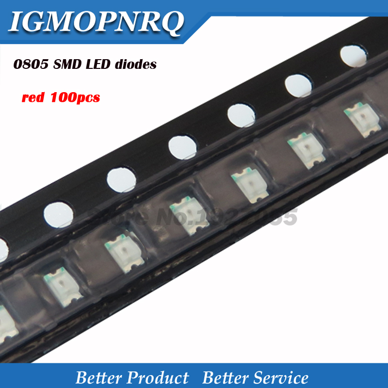 100pcs Superior Leds 0805 SMD Led Light Red 0805 Light-emitting New