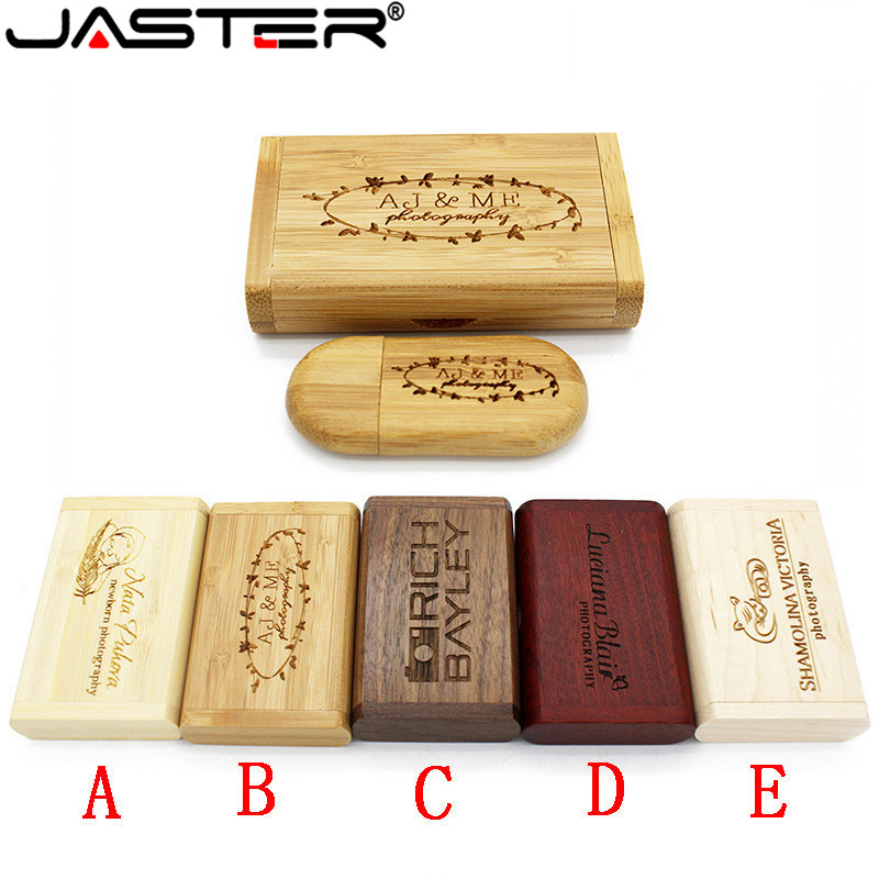 JASTER 1PCS Free Custom Logo Wooden Usb + Box Pen Drive 8GB 16gb 32gb Usb Flash Drive Memory Stick LOGO Customer Wedding Gift