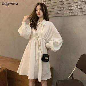 Sukienka z długim rękawem dla kobiet plisowana sukienka z długimi rękawami solidne eleganckie sukienki w stylu koreańskim piękne dziewczyny z wysokim stanem luźna moda w stylu Vintage