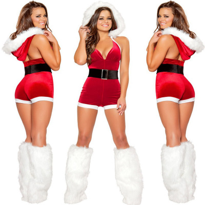 Fashion Women Adult Sexy Santa Claus Cosplay Costume Christmas Festival New Year Party Red Female Fancy Dress Slim Fit Jumpsuit