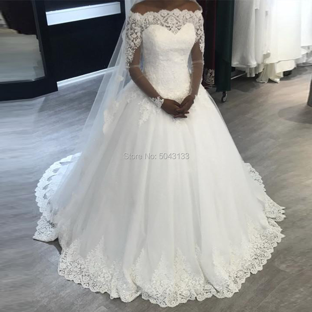 Elegant Off The Shoulder Long Sleeves Wedding Dresses African Plus Size Bridal Wedding Gowns Lace Corset Back Vestido De Noiva