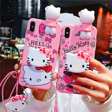 Zachte Siliconen Roze Pop Back Cover Voor coque iphone 11 11pro 11pro max mooie Hello Kitty Telefoon Case Voor iphone X XS MAX(China)
