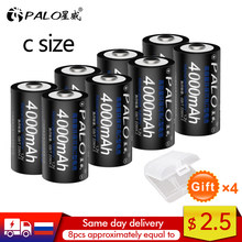 PALO 1-8pcs C size rechargeable battery type C 1.2V 4000mAh NI-MH nimh ni mh high capacity current rechargeable batteries