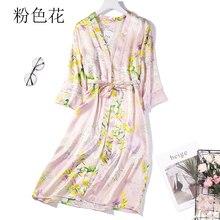 100% de seda pura sleepwear robe sleepwear feminino camisola com cinto um tamanho jn040