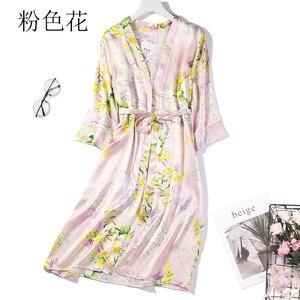 Image 1 - % 100% saf ipek kadın uyku elbise pijama gecelik kemer bir boyut JN040