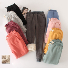 2019 winter new lamb plus size sweat pants plus velvet padde