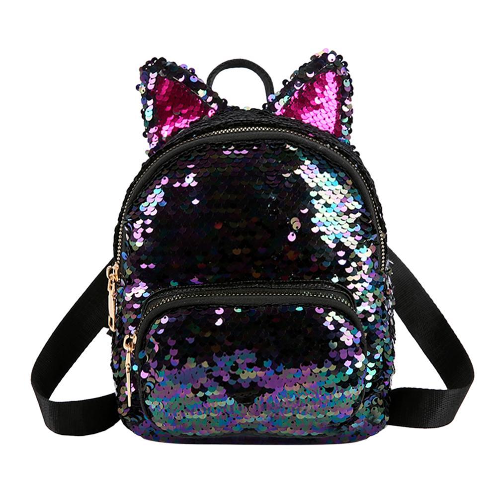 Cute Sequins Backpack Fashion Lady Cat Ears Sequin School Backpack Travel Satchel Girls Student Panelled Zipper Backpack Mochila