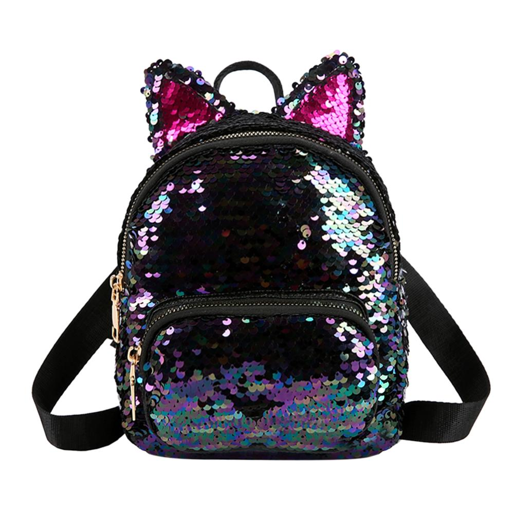 Dropshipping Cute Sequins Backpack Fashion Lady Cat Ears Sequin School Backpack Girls Student Panelled Zipper Travel Backpack