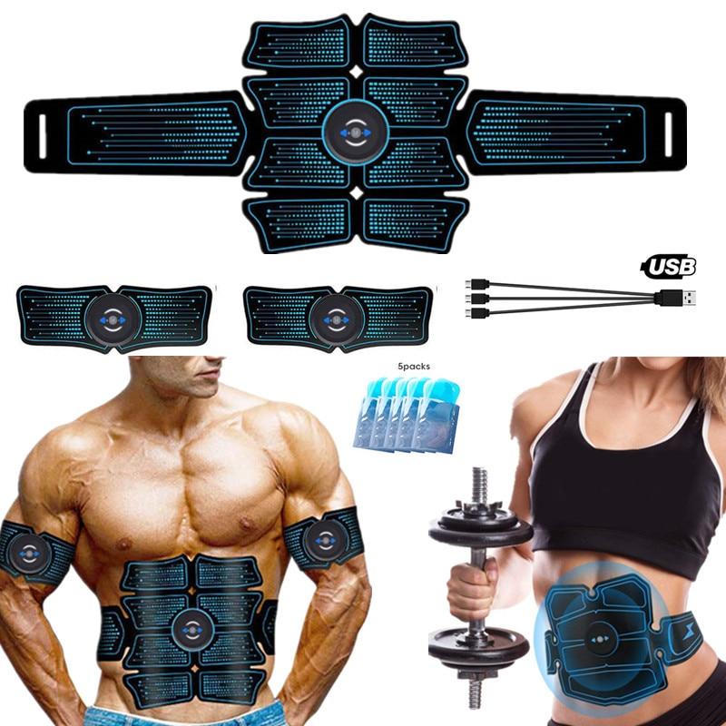 Abs trainer estimulador muscular abdominal sem fio ems treinamento de fitness inteligente massageador elétrico corpo emagrecimento cinto usb recarga