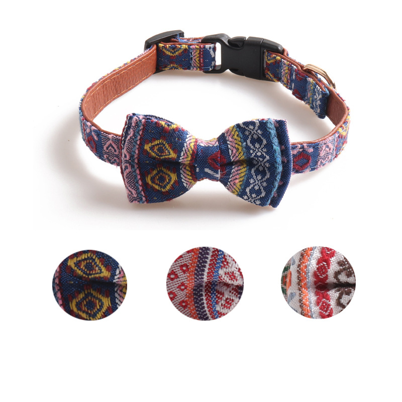 Jin Jie Te New Products Pet Collar Ethnic-Style Dog Neck Ring Medium Large Dog Dog Collar Double Layer Butterfly