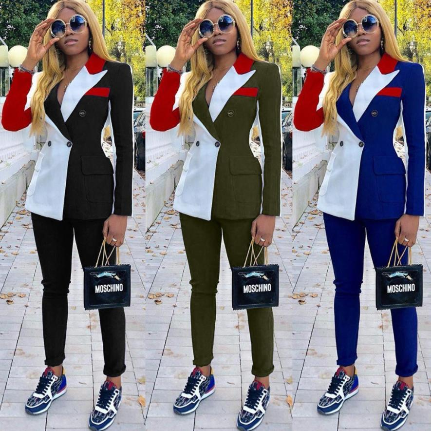 2019 Autumn Winter Sexy Women Tracksuit Notched Full Sleeve Blazers And Pant Suit Two Piece Set Casual Patchwork Colorful Outfit