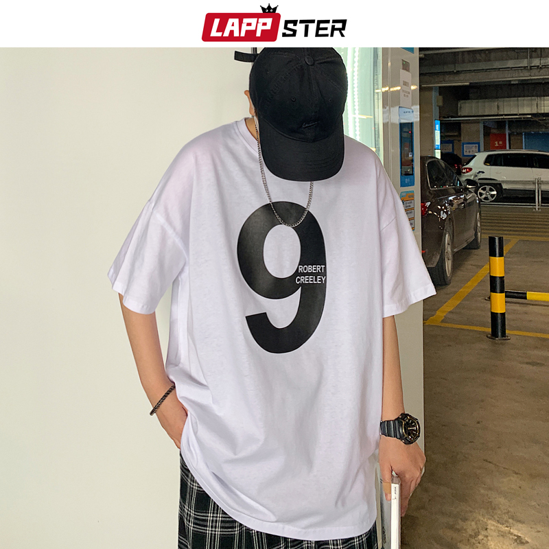 LAPPSTER Men Summer Nine Print Harajuku T-shirts 2020 Mens Casual Japanese Streetwear White Tshirts Male Korean Cotton Tees INS image