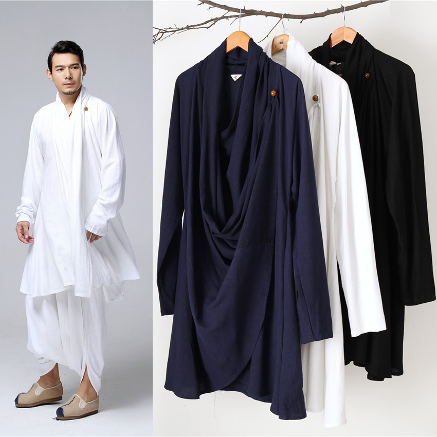 Style lâche grande taille hommes chinois Costumes traditionnels Taichi uniforme respirant col en v Kung Fu Tang costume mâle robe de lin