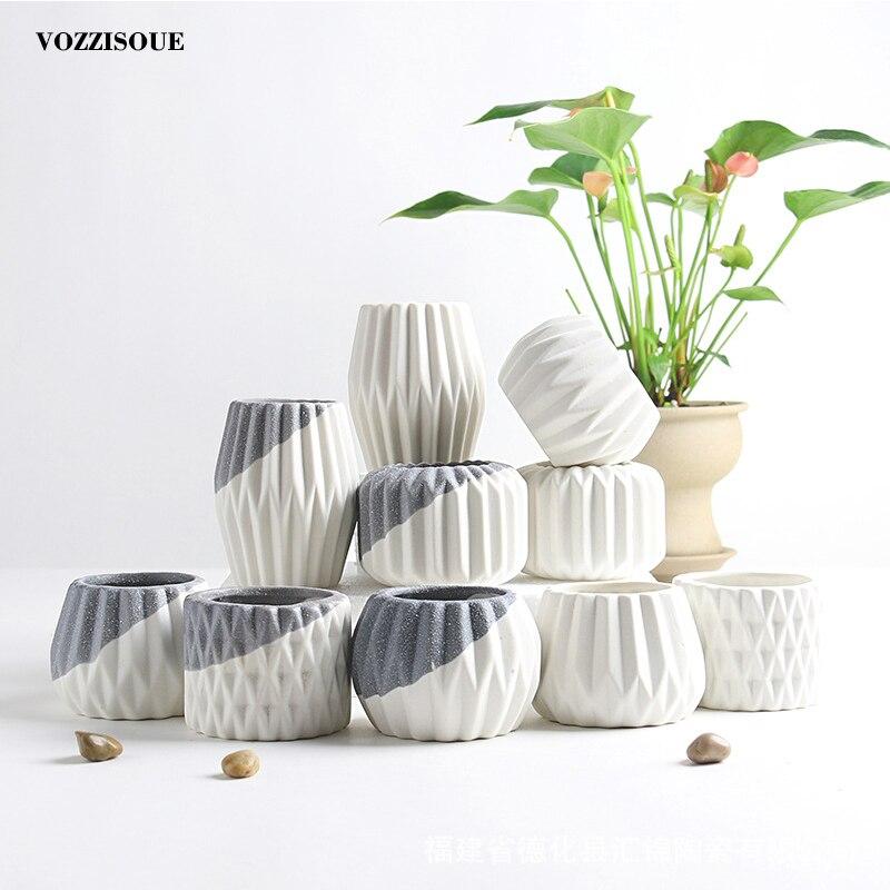 Criativo Planta Suculenta Vaso de Cerâmica Diamante Geométrica Simples Recipiente Plantadores Verde Pequeno Bonsai Vasos de Decoração Para Casa