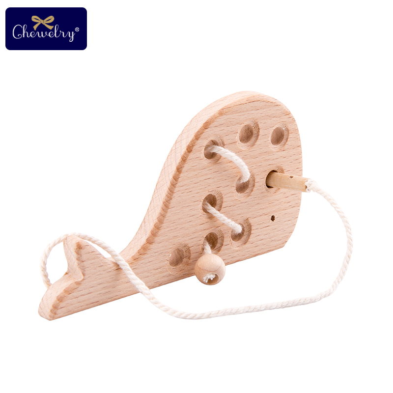 Wooden Kindergarten Mouse Threading Board Lacing Beech Wooden Sewing Toys Dinosaur Button Beaded Blocks For Boys Girls Products