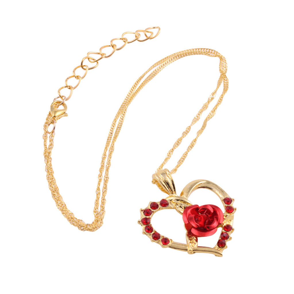 Collier zircon roses rouges pendentif en forme de coeur 2
