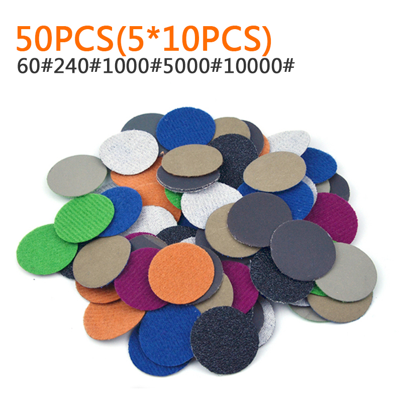 50pcs Wet&Dry 25mm Sanding Disc Sandpaper 60/240/1000/5000/10000 Grits Abrasive Backer Pads For Polishing Cleaning Tools