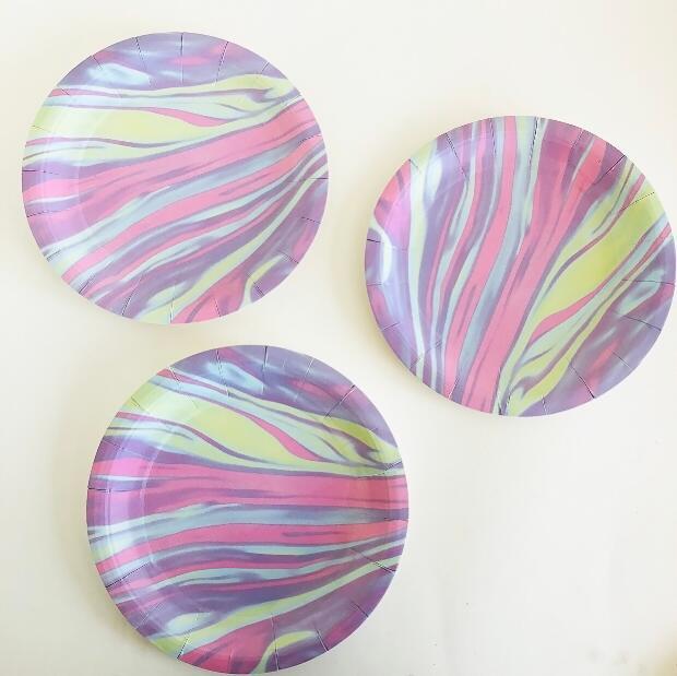 80 pièces dégradé vaisselle papier gâteau plat nouvelles faveurs jetables Fiesta été carnaval Ins anniversaire pique-nique Dessert assiettes en papier