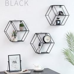 Nordic Style Wall Shelf Metal Hexagon Storage Holder Rack Ornament  Shelves Home Decor for Potted Sundries скандинавский стиль