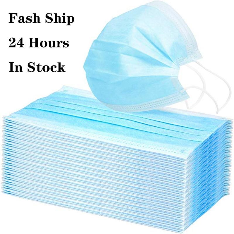 Fash Ship! Disposable Masks 3-Ply Anti-Dust Nonwoven Elastic Earloop Salon Mouth Masks 5/10/20/50pcs