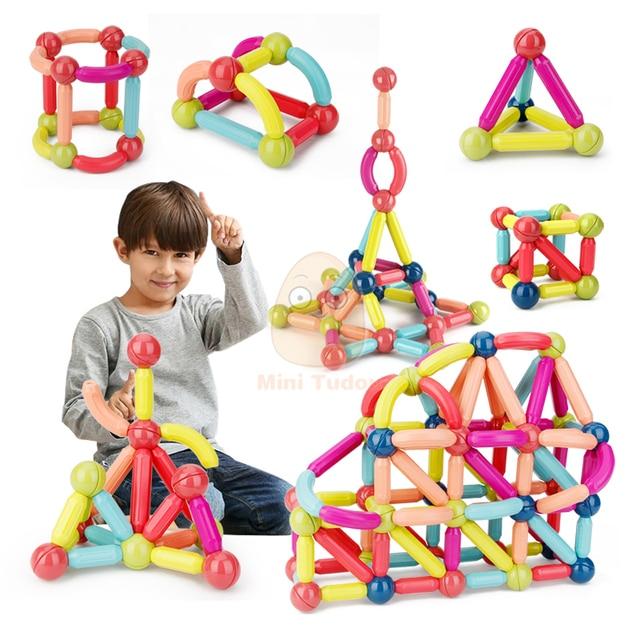 Kids Magnetic Constructor Block Designer Set Magnet Stick Rod Building Blocks Montessori Educational Toys For Children Boy Girl 3