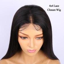 Предварительно сорванный 4x4 парик из человеческих волос 10-24 Alibele перуанские прямые волосы Remy парик для черных женщин 150% парик