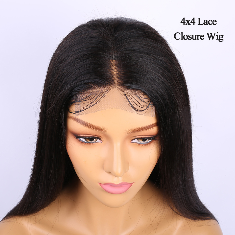 Pre Plucked 4x4 Lace Closure Human Hair Wig 10-24 Alibele Peruvian Straight Remy Human Hair Wig For Black Women 150% Closure Wig