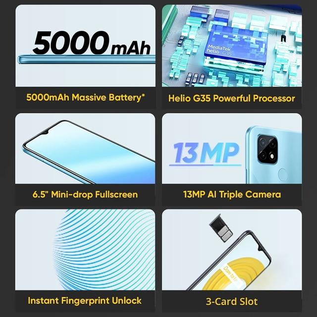 "Global Version realme C21 4GB+64GB/ 3GB+32GB Smartphone Helio G35 Octa Core 6.5""display 5000mAh battery 3-Card Slot 3"