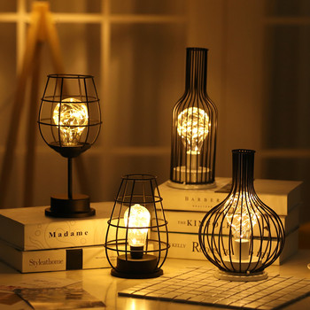 Iron Hollow Out Wine Glass Bottle Night Light LED Night Lamp for Cafe Hotel Balcony Home Decoration