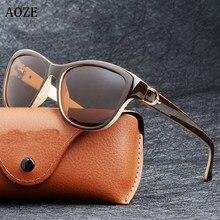 Aoze marca de luxo design gato olho polarizado óculos de sol das mulheres senhora elegante feminino óculos de condução óculos sol uv400