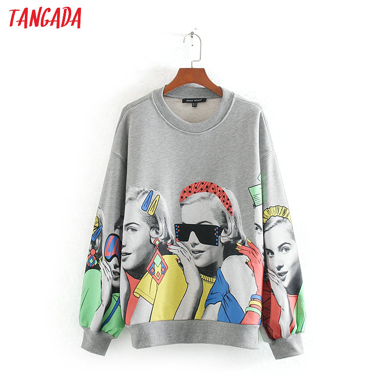 Tangada Women Fashion Charater Print Gray Sweatshirts Oversize Long Sleeve O Neck Loose Pullovers Female Tops CE143