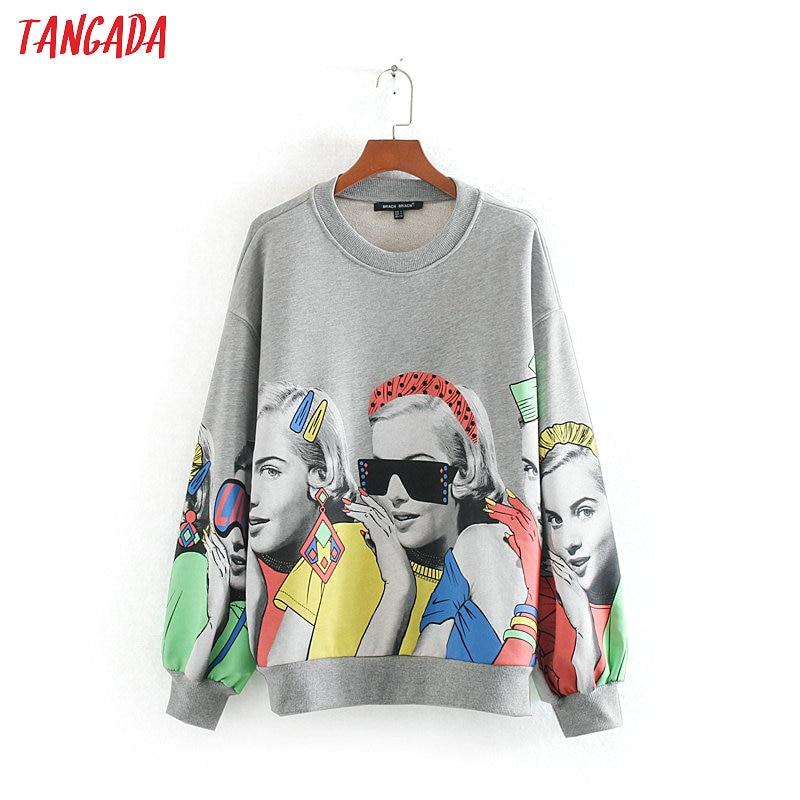 Tangada Women Fashion Charater Print Gray Sweatshirts Oversize Long Sleeve O Neck Loose Pullovers Female Tops CE143