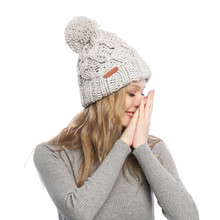 2019 Women Winter Hat Cotton Knit Fashion Warm Beanie Adjustable Hood Soft Pompom Outdoor Sports