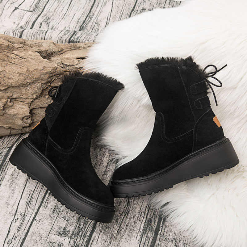 Gotik kürk ayakkabı kadınlar siyah dantel sıcak orta çizmeler kış kar botları Punk Rock motosiklet çizmeler kaymaz taban martin çizmeler